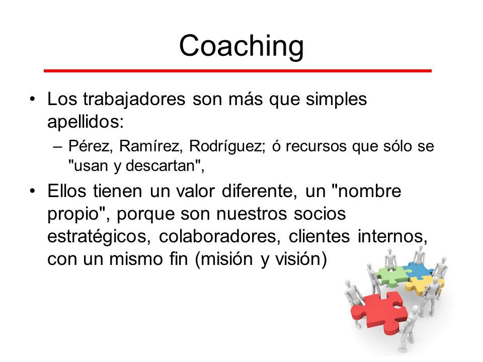 Coaching Los trabajadores son más que simples apellidos: –Pérez, Ramírez, Rodríguez; ó recursos que sólo se