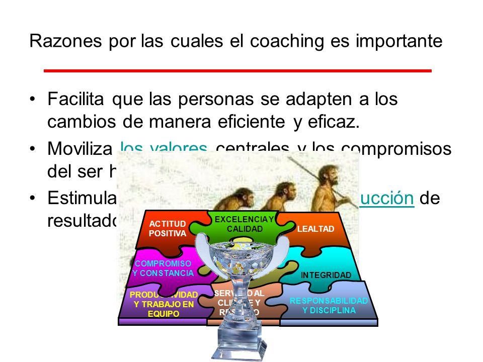 Razones por las cuales el coaching es importante Facilita que las personas se adapten a los cambios de manera eficiente y eficaz. Moviliza los valores