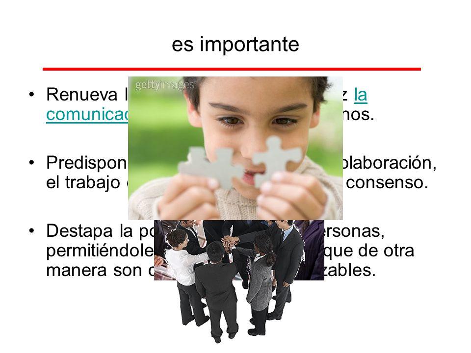 es importante Renueva las relaciones y hace eficaz la comunicación en los sistemas humanos.la comunicación Predispone a las personas para la colaborac