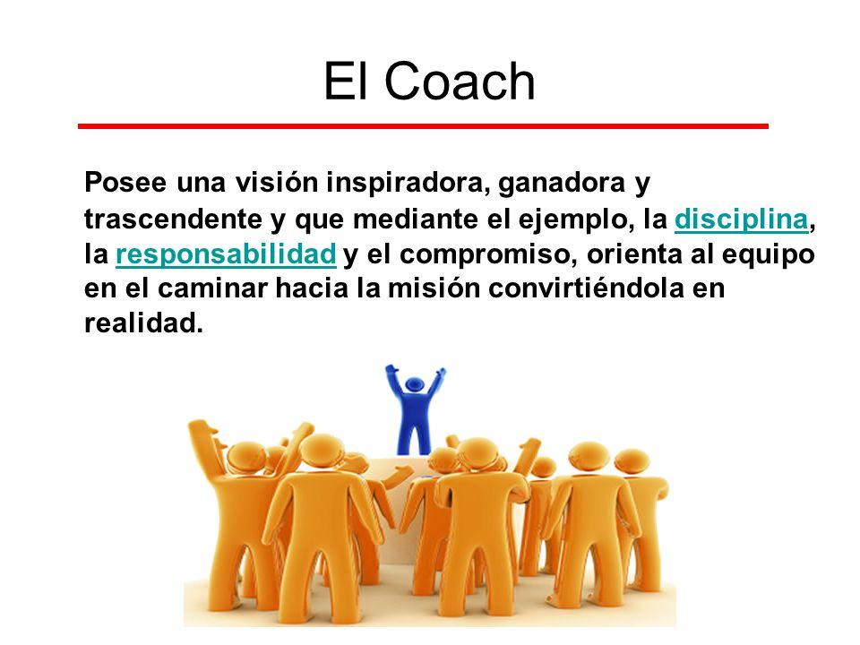 El Coach Posee una visión inspiradora, ganadora y trascendente y que mediante el ejemplo, la disciplina, la responsabilidad y el compromiso, orienta a