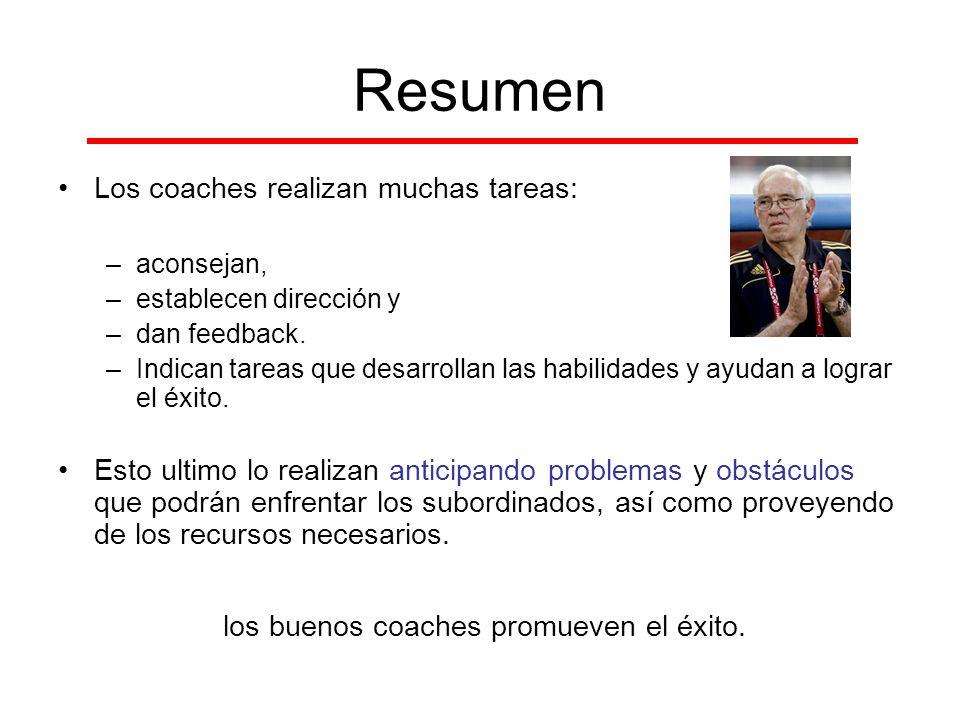 Resumen Los coaches realizan muchas tareas: –aconsejan, –establecen dirección y –dan feedback. –Indican tareas que desarrollan las habilidades y ayuda