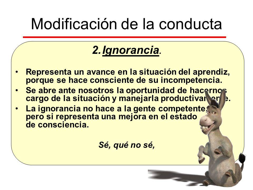 Modificación de la conducta 2.Ignorancia. Representa un avance en la situación del aprendiz, porque se hace consciente de su incompetencia. Se abre an