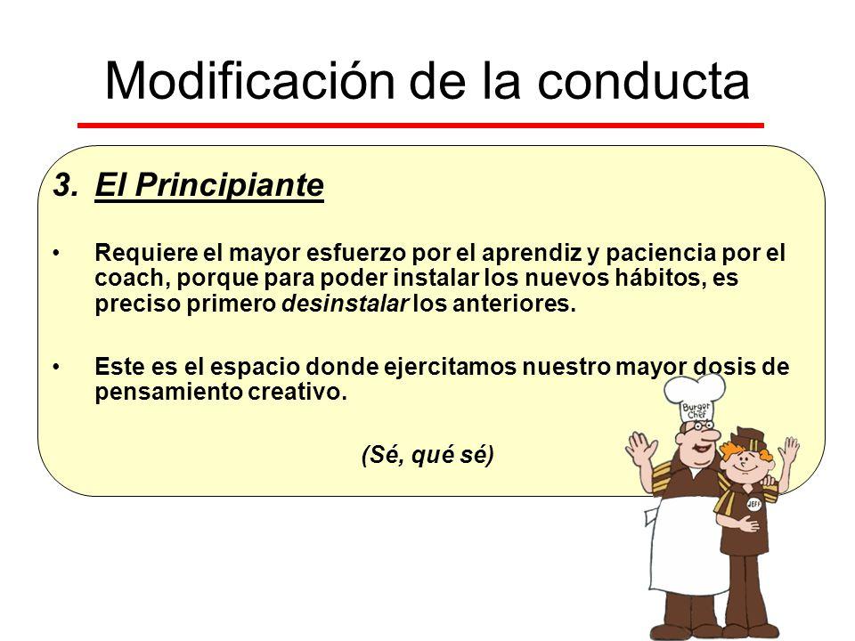 Modificación de la conducta 3.El Principiante Requiere el mayor esfuerzo por el aprendiz y paciencia por el coach, porque para poder instalar los nuev