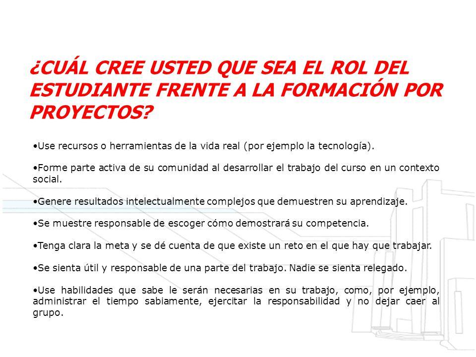 ¿CUÁL CREE USTED QUE SEA EL ROL DEL ESTUDIANTE FRENTE A LA FORMACIÓN POR PROYECTOS.