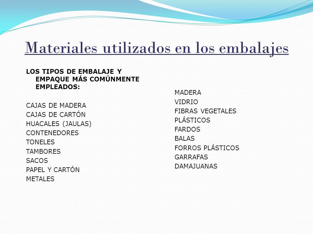 Materiales utilizados en los embalajes LOS TIPOS DE EMBALAJE Y EMPAQUE MÁS COMÚNMENTE EMPLEADOS: CAJAS DE MADERA CAJAS DE CARTÓN HUACALES (JAULAS) CON
