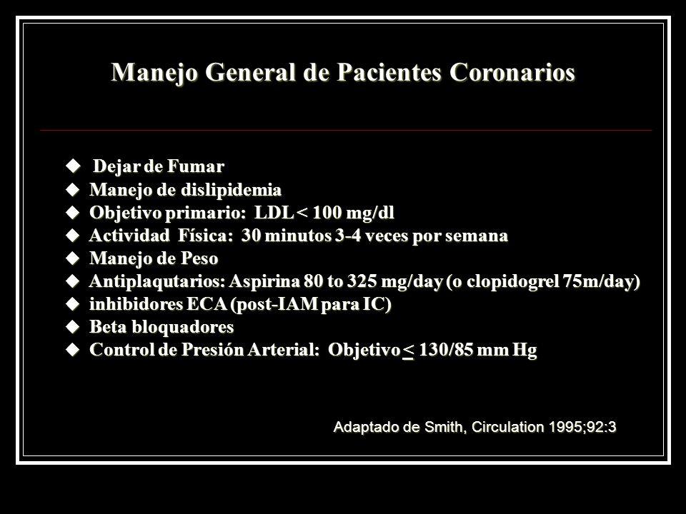 Manejo General de Pacientes Coronarios u Dejar de Fumar u Manejo de dislipidemia u Objetivo primario: LDL < 100 mg/dl u Actividad Física: 30 minutos 3