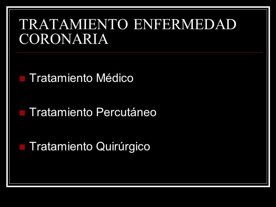 TRATAMIENTO ENFERMEDAD CORONARIA Tratamiento Médico Tratamiento Percutáneo Tratamiento Quirúrgico