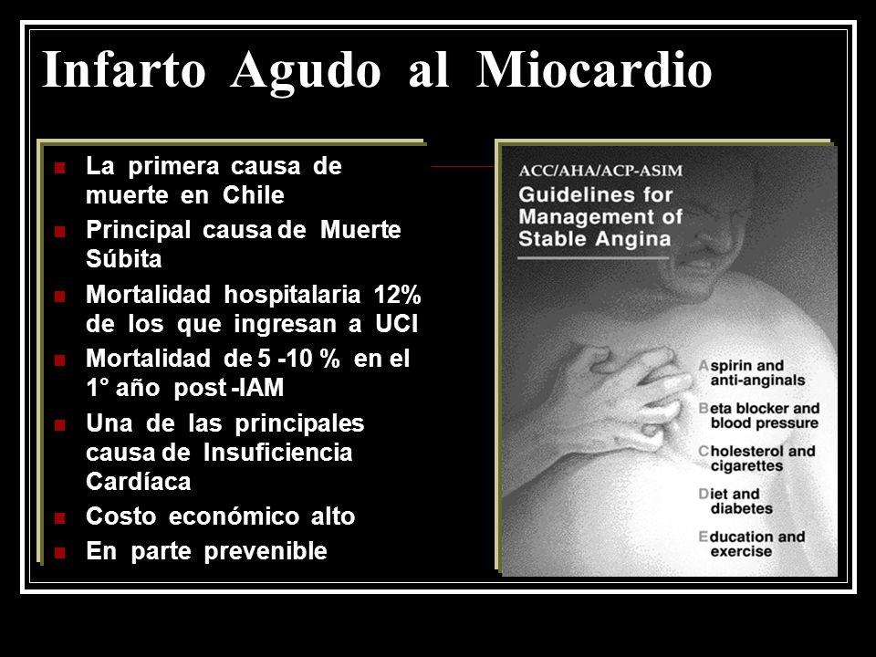 Infarto Agudo al Miocardio La primera causa de muerte en Chile Principal causa de Muerte Súbita Mortalidad hospitalaria 12% de los que ingresan a UCI