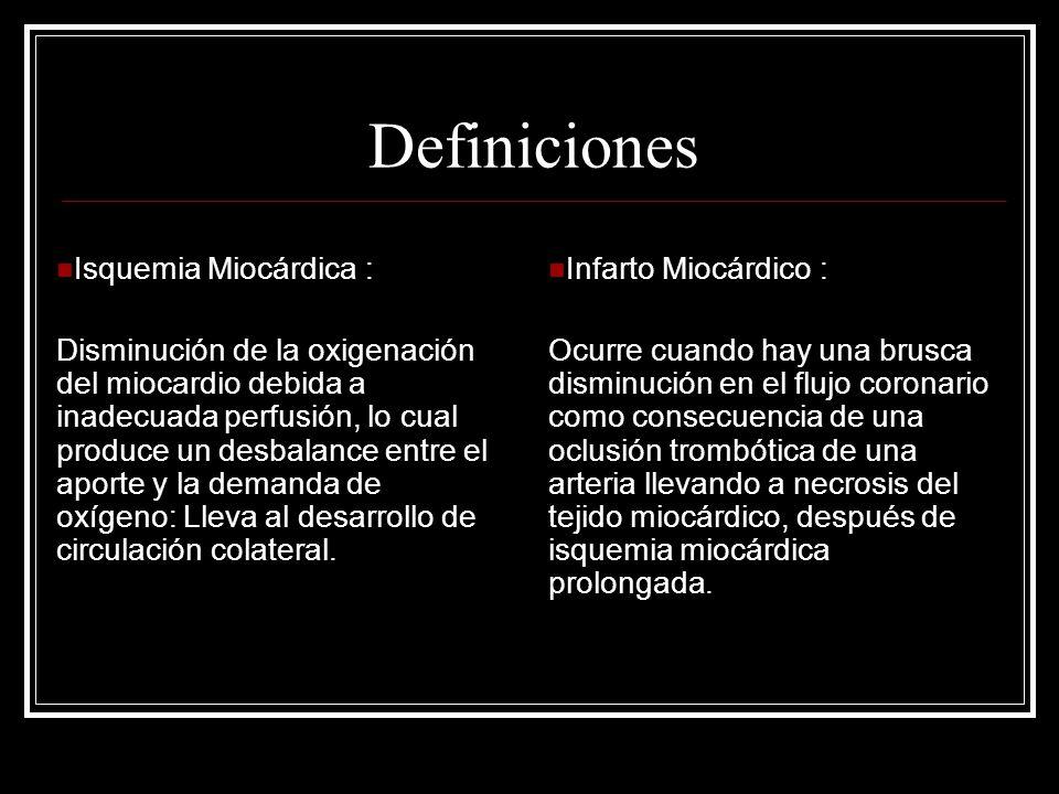 Definiciones Isquemia Miocárdica : Disminución de la oxigenación del miocardio debida a inadecuada perfusión, lo cual produce un desbalance entre el a