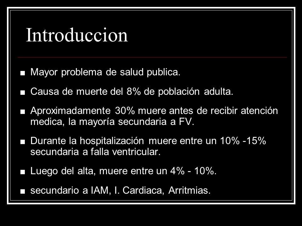 Introduccion Mayor problema de salud publica. Causa de muerte del 8% de población adulta. Aproximadamente 30% muere antes de recibir atención medica,