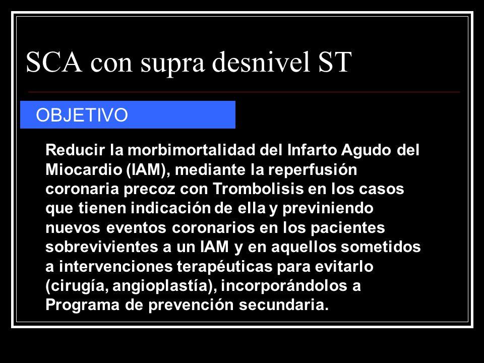 SCA con supra desnivel ST OBJETIVO Reducir la morbimortalidad del Infarto Agudo del Miocardio (IAM), mediante la reperfusión coronaria precoz con Trom