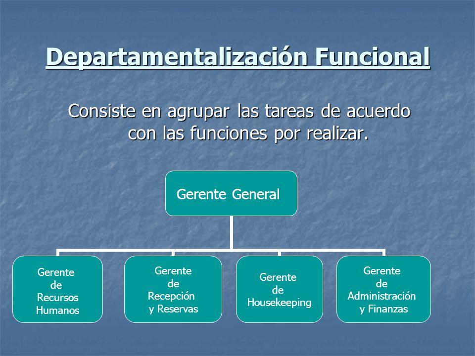 Departamentalización Funcional Consiste en agrupar las tareas de acuerdo con las funciones por realizar. Gerente General Gerente de Recursos Humanos G