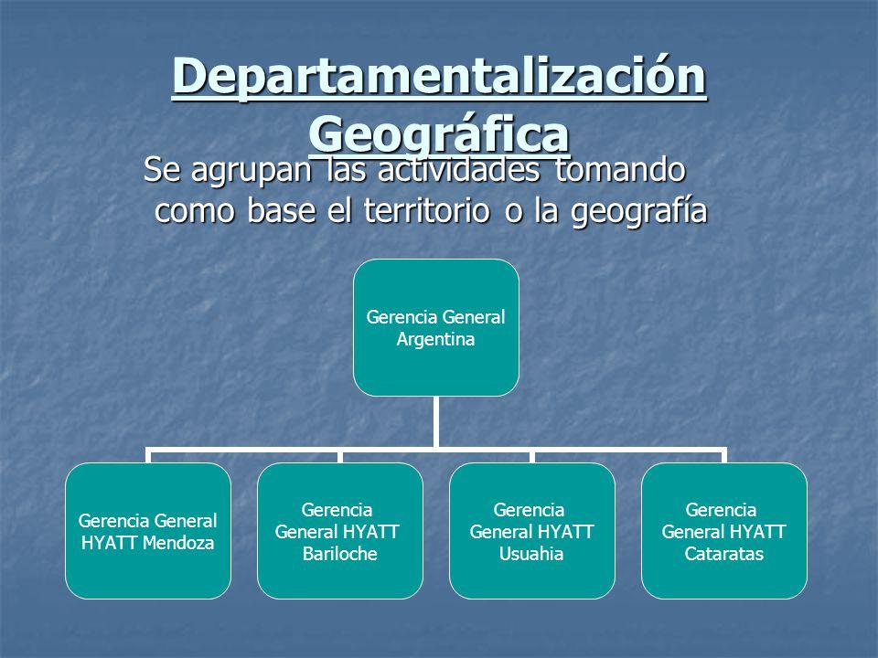 Departamentalización Geográfica Se agrupan las actividades tomando como base el territorio o la geografía Gerencia General Argentina Gerencia General