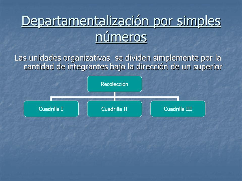 Departamentalización por simples números Las unidades organizativas se dividen simplemente por la cantidad de integrantes bajo la dirección de un superior Recolección Cuadrilla ICuadrilla II Cuadrilla III