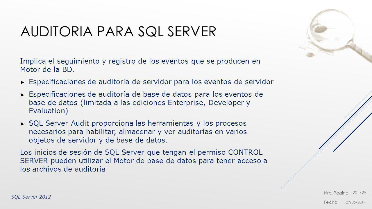 Nro. Página: Fecha: /25 AUDITORIA PARA SQL SERVER Implica el seguimiento y registro de los eventos que se producen en Motor de la BD. Especificaciones