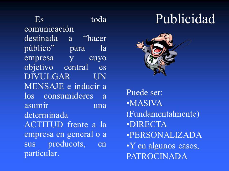 Estrategias de Comunicación e Impulso 1.La Publicidad Masiva Directa Personalizada 2. La Promoción En función de la Ventas. Para el Cliente Interno. C