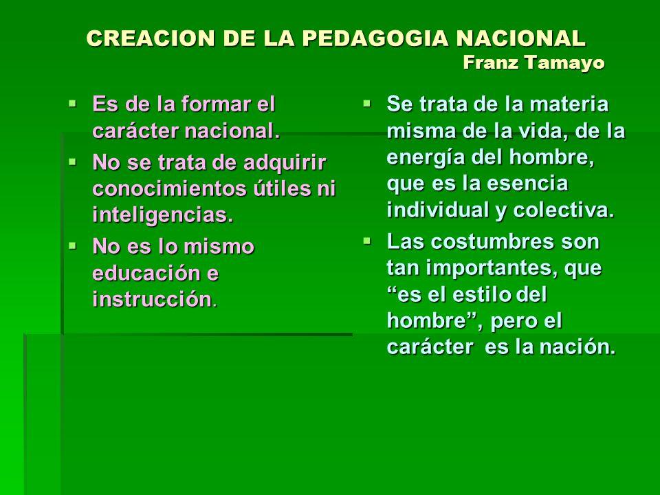 CREACION DE LA PEDAGOGIA NACIONAL Franz Tamayo Es de la formar el carácter nacional. Es de la formar el carácter nacional. No se trata de adquirir con