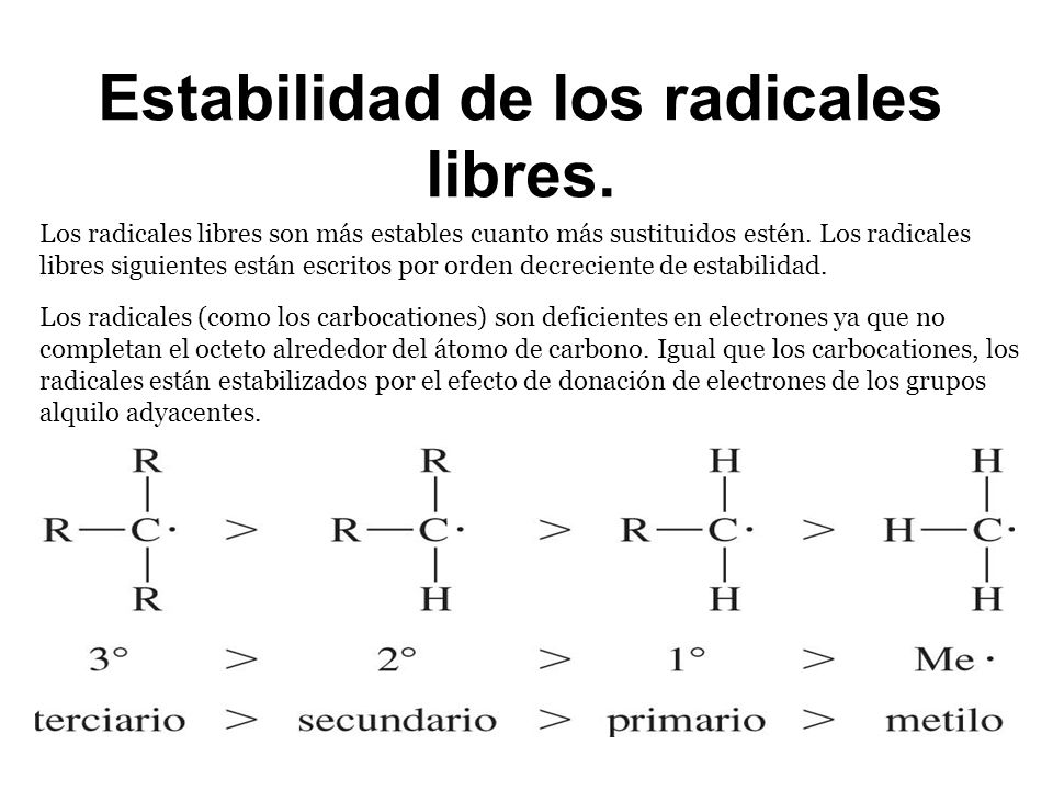 Estabilidad de los radicales libres. Los radicales libres son más estables cuanto más sustituidos estén. Los radicales libres siguientes están escrito