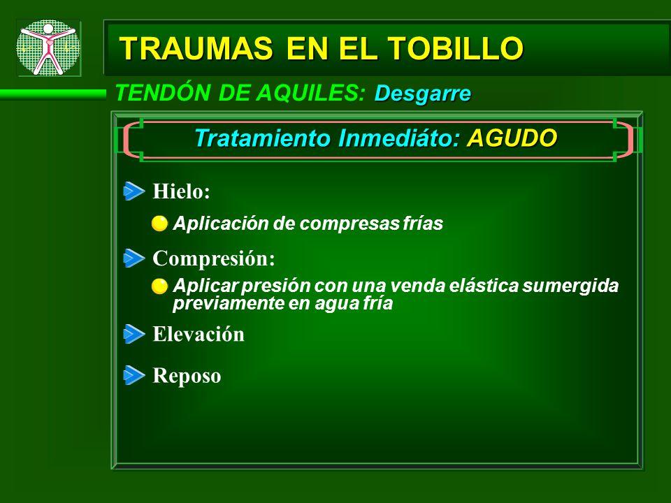 Desgarre TENDÓN DE AQUILES: Desgarre TRAUMAS EN EL TOBILLO Tratamiento Inmediáto: AGUDO Hielo: Compresión: Elevación Reposo Aplicar presión con una ve