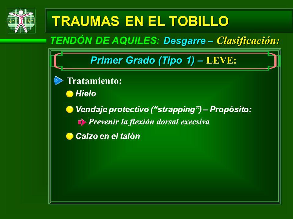 Desgarre – Clasificación: TENDÓN DE AQUILES: Desgarre – Clasificación: TRAUMAS EN EL TOBILLO Primer Grado (Tipo 1) – LEVE: Tratamiento: Hielo Calzo en