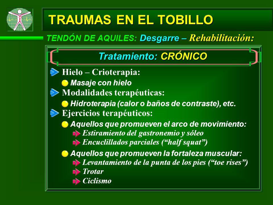 Desgarre – Rehabilitación: TENDÓN DE AQUILES: Desgarre – Rehabilitación: TRAUMAS EN EL TOBILLO Tratamiento: CRÓNICO Hielo – Crioterapia: Modalidades terapéuticas: Hidroterapia (calor o baños de contraste), etc.