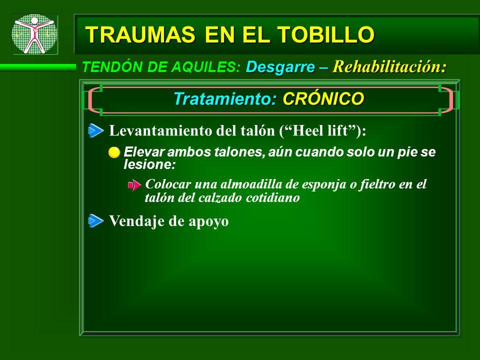 Desgarre – Rehabilitación: TENDÓN DE AQUILES: Desgarre – Rehabilitación: TRAUMAS EN EL TOBILLO Tratamiento: CRÓNICO Levantamiento del talón (Heel lift