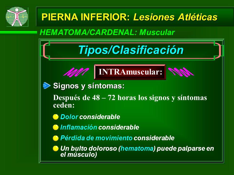 HEMATOMA/CARDENAL: Muscular PIERNA INFERIOR: Lesiones Atléticas Inflamación considerable Signos y síntomas: Pérdida de movimiento considerable Un bulto doloroso (hematoma) puede palparse en el músculo) Dolor considerable INTRAmuscular: Tipos/Clasificación Después de 48 – 72 horas los signos y síntomas ceden: