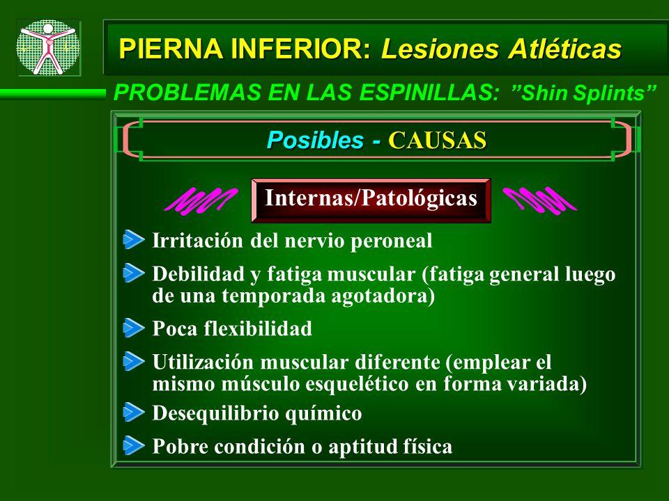 PIERNA INFERIOR: Lesiones Atléticas PROBLEMAS EN LAS ESPINILLAS: Shin Splints Posibles - CAUSAS Internas/Patológicas Debilidad y fatiga muscular (fati
