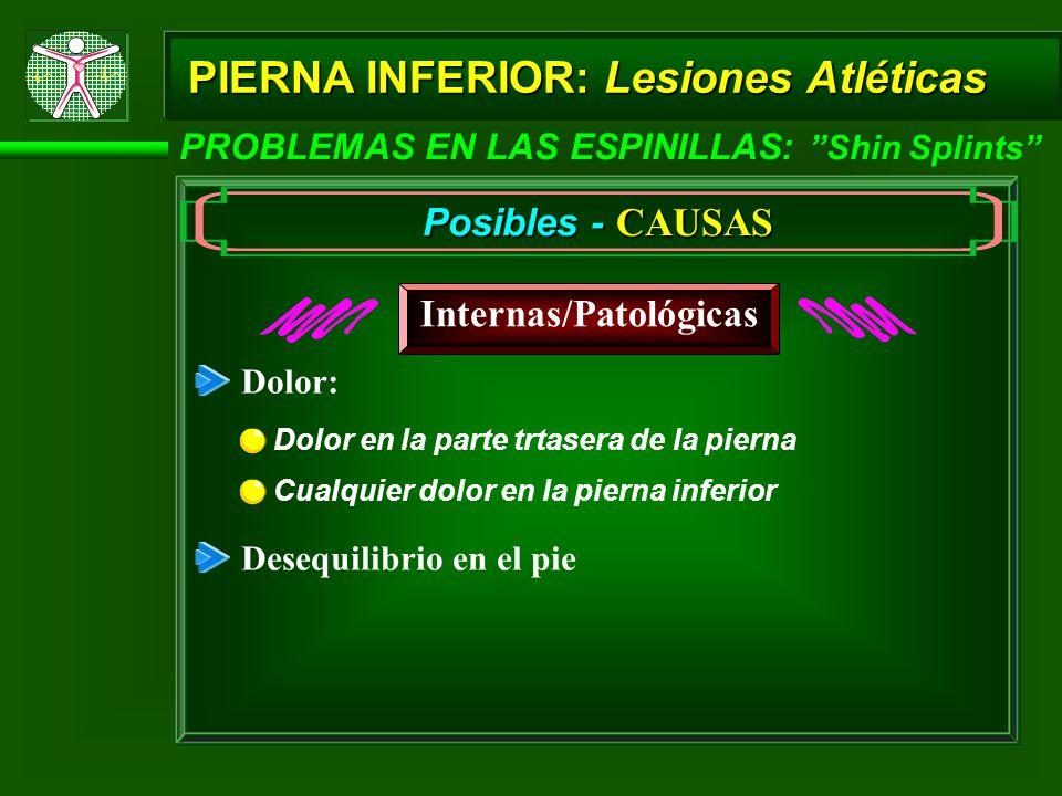 PIERNA INFERIOR: Lesiones Atléticas PROBLEMAS EN LAS ESPINILLAS: Shin Splints Posibles - CAUSAS Internas/Patológicas Dolor: Cualquier dolor en la pier