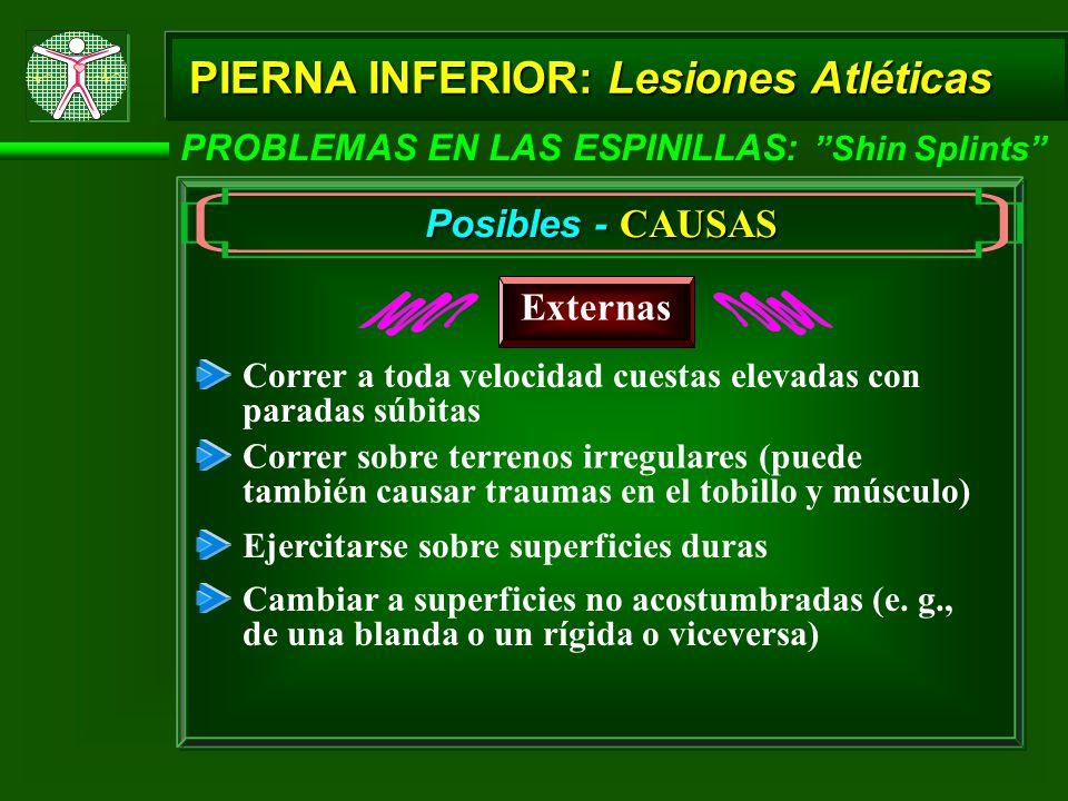 PIERNA INFERIOR: Lesiones Atléticas PROBLEMAS EN LAS ESPINILLAS: Shin Splints Posibles - CAUSAS Externas Ejercitarse sobre superficies duras Cambiar a superficies no acostumbradas (e.