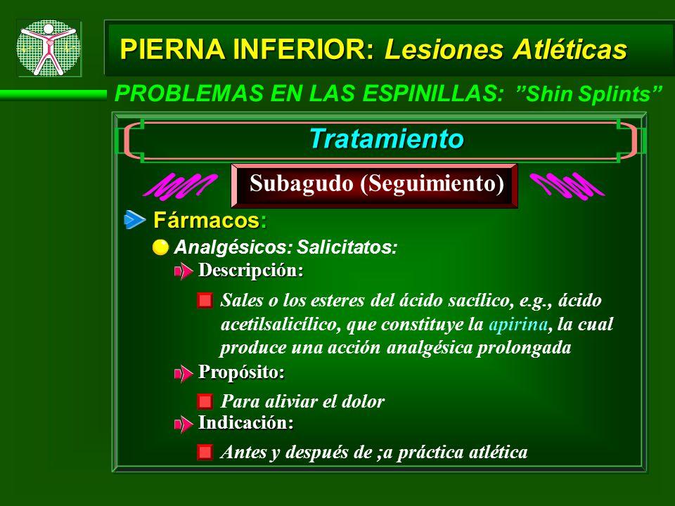 PIERNA INFERIOR: Lesiones Atléticas PROBLEMAS EN LAS ESPINILLAS: Shin Splints Tratamiento Subagudo (Seguimiento) Fármacos: Analgésicos: Salicitatos: D