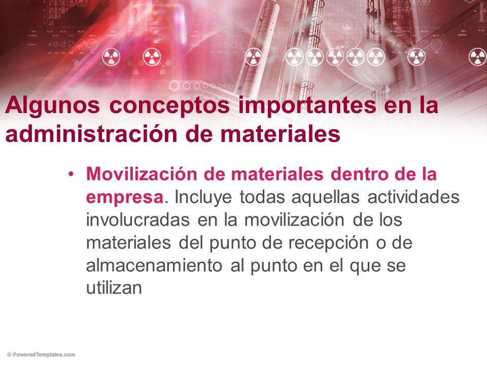 Algunos conceptos importantes en la administración de materiales Movilización de materiales dentro de la empresa. Incluye todas aquellas actividades i