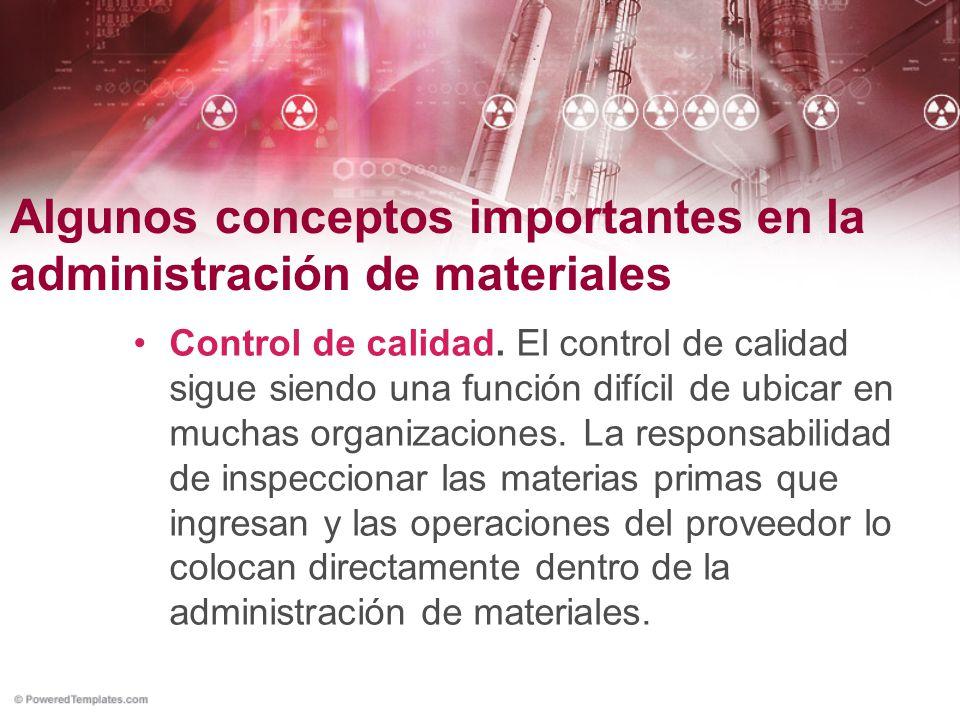 Algunos conceptos importantes en la administración de materiales Control de calidad. El control de calidad sigue siendo una función difícil de ubicar