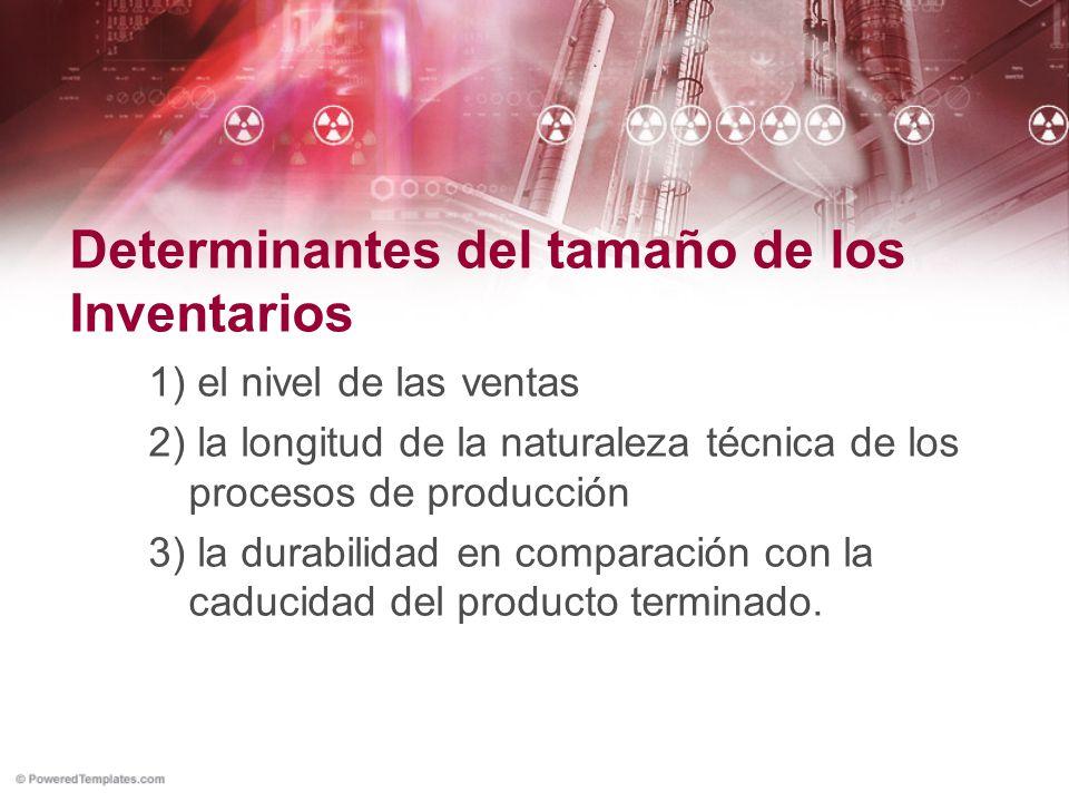 Determinantes del tamaño de los Inventarios 1) el nivel de las ventas 2) la longitud de la naturaleza técnica de los procesos de producción 3) la dura
