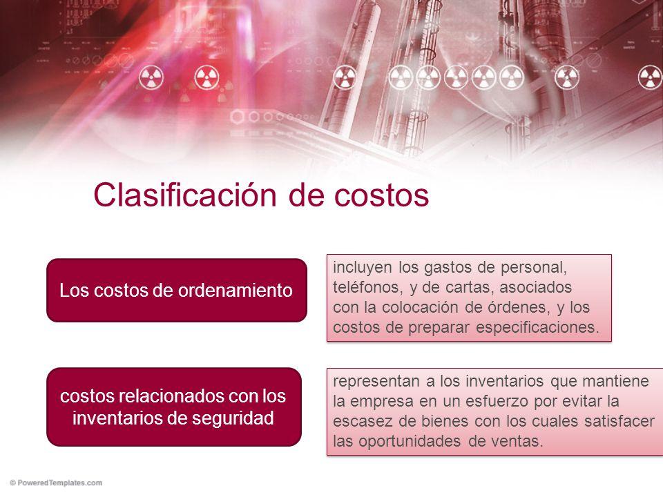 Clasificación de costos Los costos de ordenamiento incluyen los gastos de personal, teléfonos, y de cartas, asociados con la colocación de órdenes, y