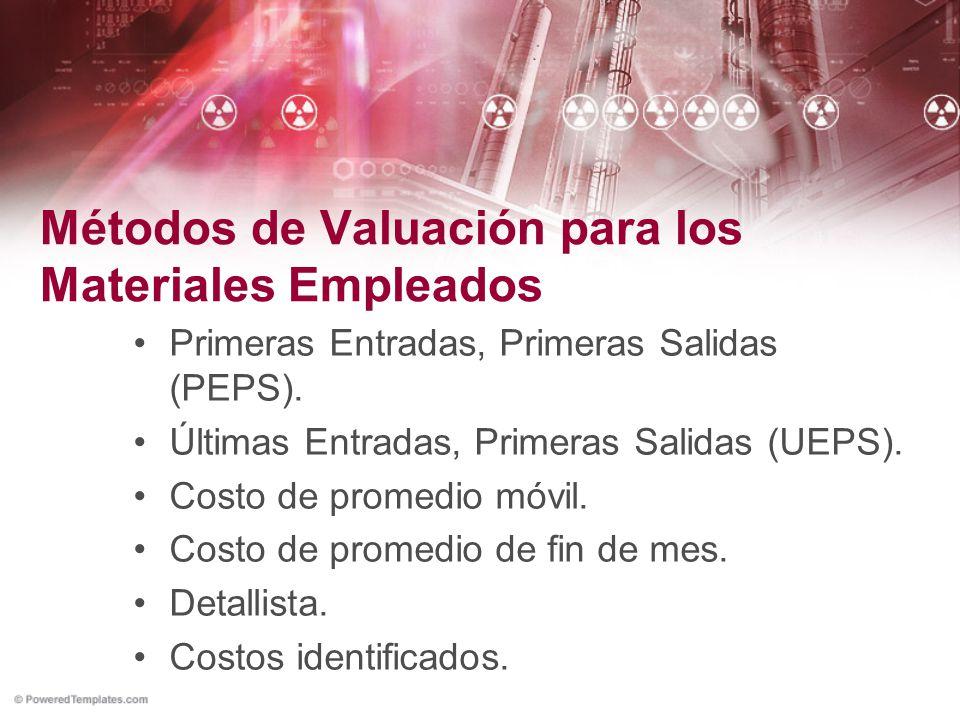 Métodos de Valuación para los Materiales Empleados Primeras Entradas, Primeras Salidas (PEPS). Últimas Entradas, Primeras Salidas (UEPS). Costo de pro