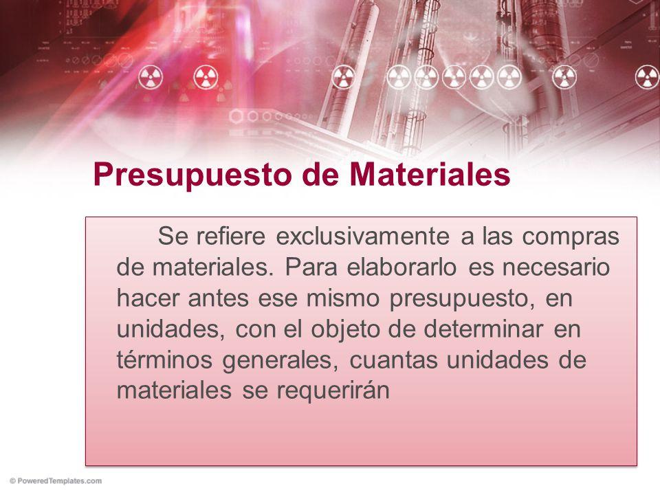 Presupuesto de Materiales Se refiere exclusivamente a las compras de materiales. Para elaborarlo es necesario hacer antes ese mismo presupuesto, en un