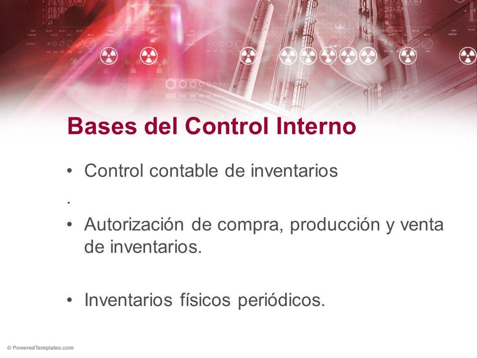 Bases del Control Interno Control contable de inventarios. Autorización de compra, producción y venta de inventarios. Inventarios físicos periódicos.