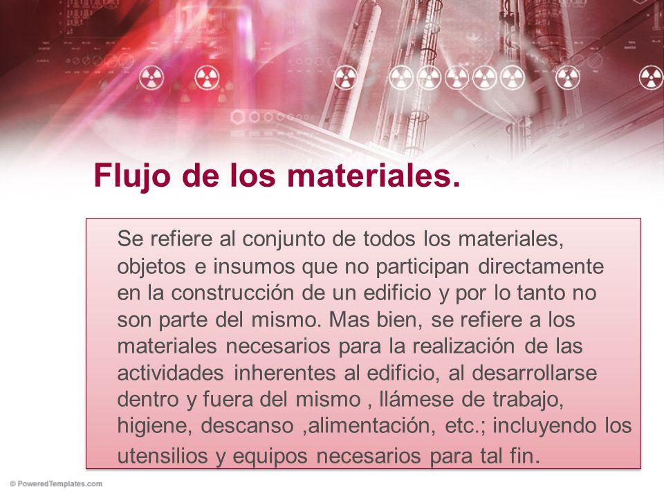 Flujo de los materiales. Se refiere al conjunto de todos los materiales, objetos e insumos que no participan directamente en la construcción de un edi