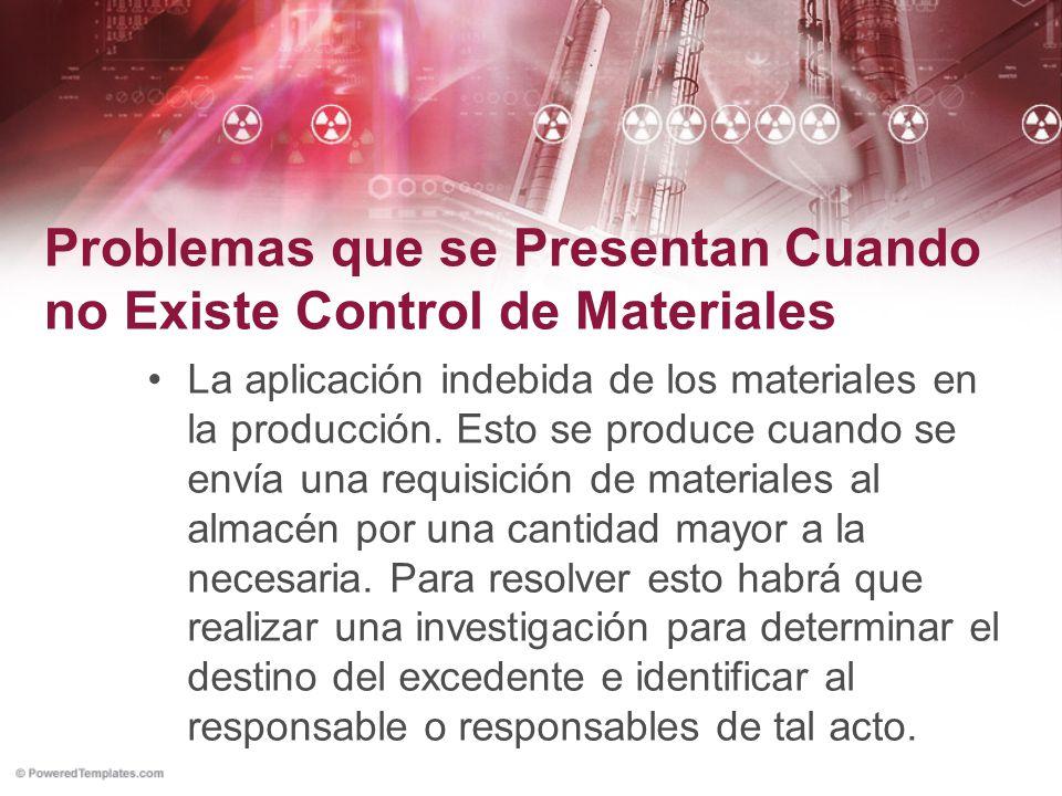 Problemas que se Presentan Cuando no Existe Control de Materiales La aplicación indebida de los materiales en la producción. Esto se produce cuando se