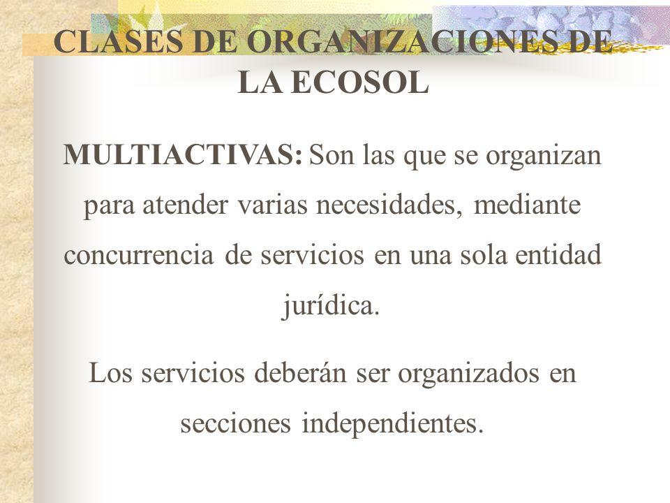 CLASES DE ORGANIZACIONES DE LA ECOSOL ESPECIALIZADAS: Son las que se organizan para atender una necesidad específica, corresponde a una sola rama de a