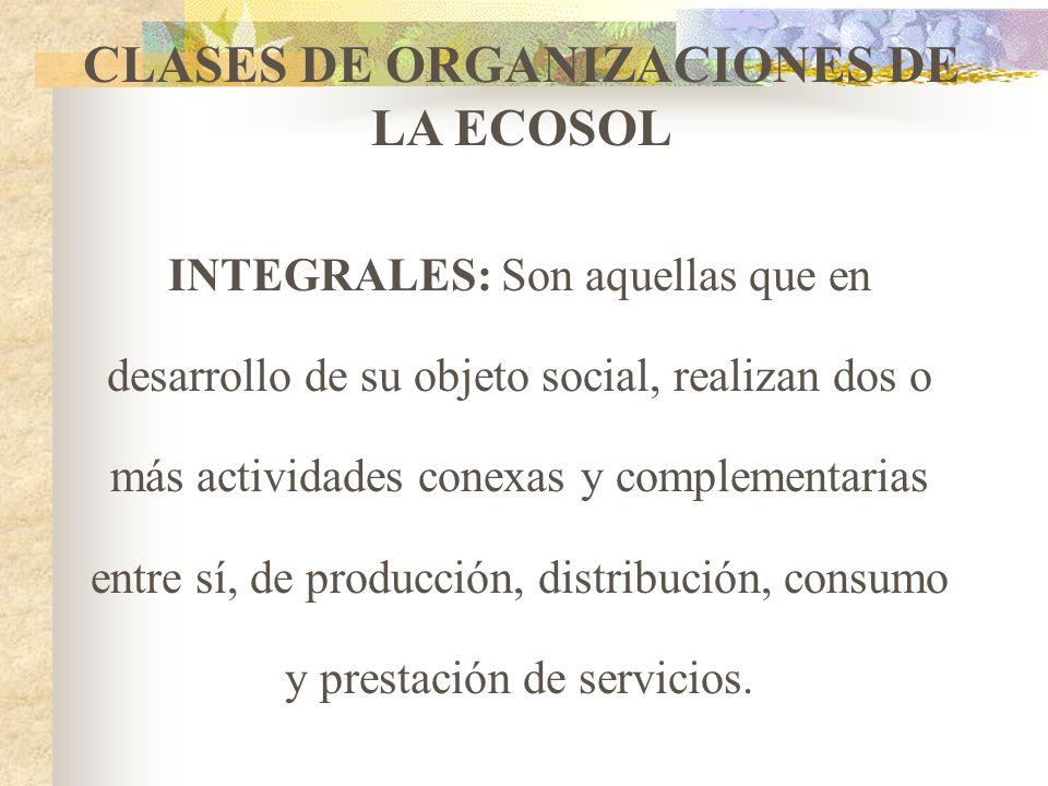 CLASES DE ORGANIZACIONES DE LA ECOSOL MULTIACTIVAS: Son las que se organizan para atender varias necesidades, mediante concurrencia de servicios en un
