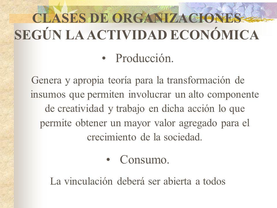 CLASES DE ORGANIZACIONES DE LA ECOSOL INTEGRALES: Son aquellas que en desarrollo de su objeto social, realizan dos o más actividades conexas y complem