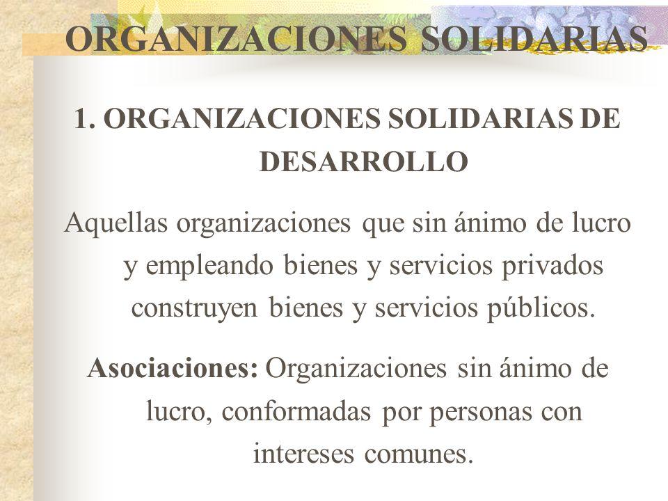 ORGANIZACIONES SOLIDARIAS Son un conjunto de organizaciones que siendo de iniciativa privada, desarrollan fines de beneficio colectivo o social y no t