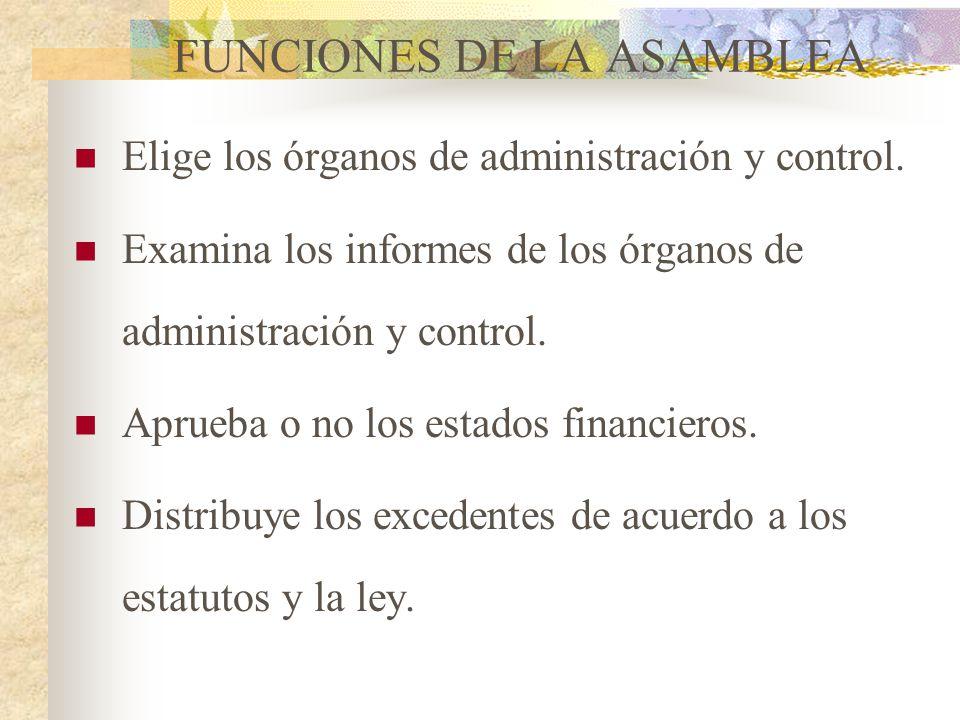 FUNCIONES DE LA ASAMBLEA Establece los principios, políticas y directrices para el cumplimiento de su objeto social. Reforma los estatutos cuando sea