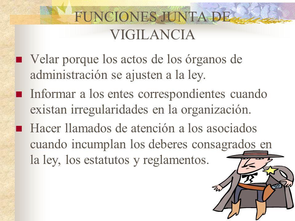 JUNTA DE VIGILANCIA Es el órgano de control social y técnico de la cooperativa. El control social está determinado por el tipo de prácticas que se des