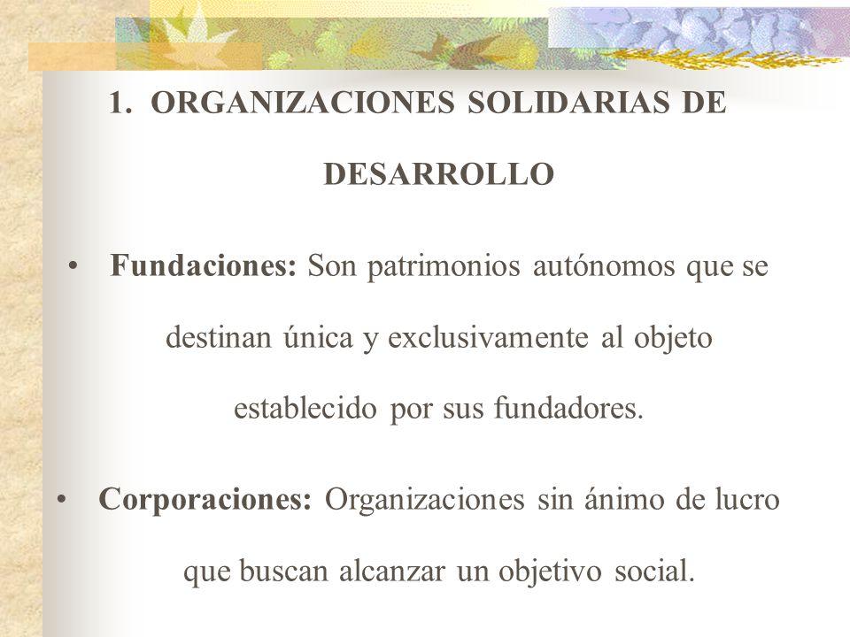 ORGANIZACIONES SOLIDARIAS 1. ORGANIZACIONES SOLIDARIAS DE DESARROLLO Aquellas organizaciones que sin ánimo de lucro y empleando bienes y servicios pri