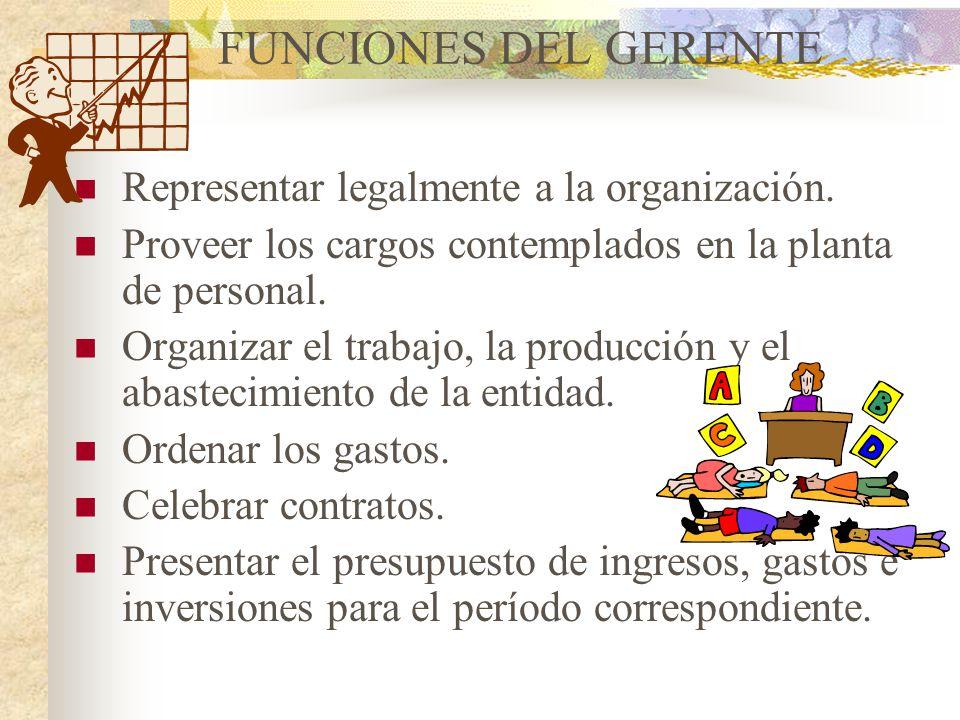 GERENTE Es el representante legal de la cooperativa; ejecuta las decisiones de la Asamblea General y del Consejo de Administración y es nombrado por é