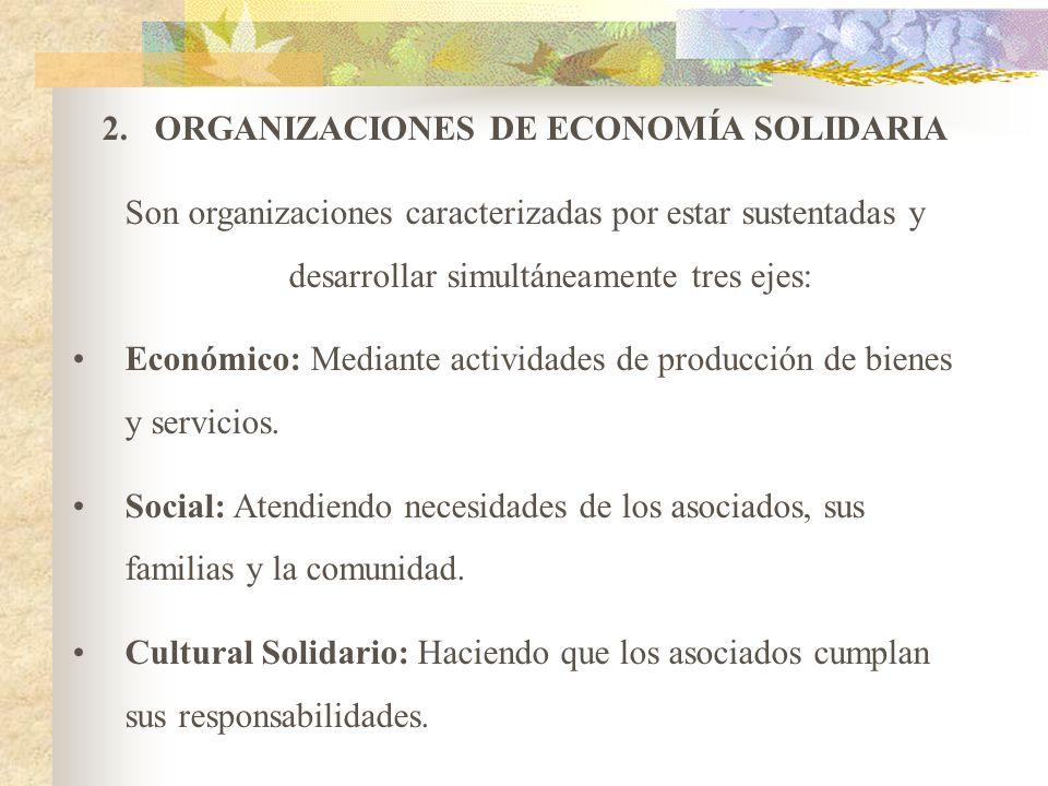 1.ORGANIZACIONES SOLIDARIAS DE DESARROLLO Organizaciones de Voluntariado: Tienen por finalidad desarrollar planes, programas, proyectos y actividades
