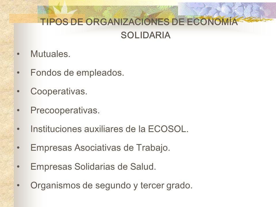2.ORGANIZACIONES DE ECONOMÍA SOLIDARIA Son organizaciones caracterizadas por estar sustentadas y desarrollar simultáneamente tres ejes: Económico: Med
